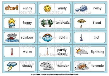 ESL Resources: Weather Words Domino Game