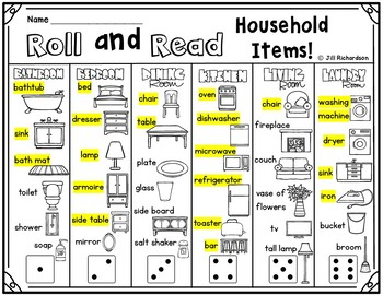 ESL Roll and Read Household Items Vocabulary!  Fun ELL Game!