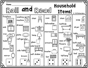 ESL Activities:   Roll and Read Household Items Vocabulary!  Fun ELL Game!