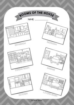 ESL Rooms of the house vocabulary posters for years 1 & 2
