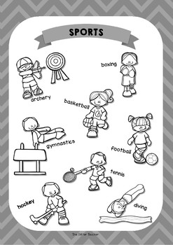 ESL SPORTS vocabulary posters for years 3 & 4