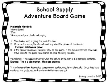 ESL School Supply Vocabulary Board Game