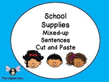 ESL School Supply Vocabulary Cut and Paste