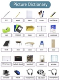 ESL School Supply and Common School Verb Vocabulary Packet