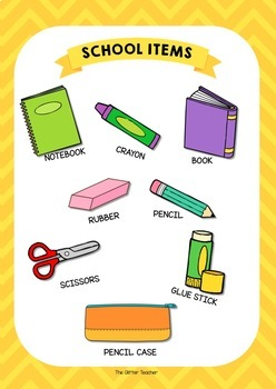 ESL School items vocabulary posters for years 1 & 2