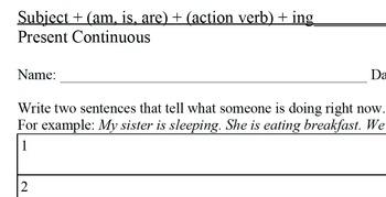 ESL Sentence Writing Activity