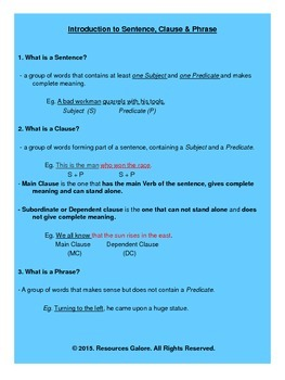 ESL: Sentences, Phrases & Clauses