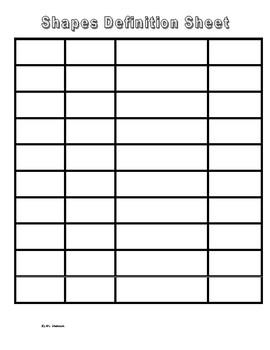 ESL Shapes Definition Sheets