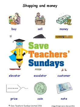 ESL Shopping Worksheets, Games, Activities and Flash Cards (with audio)
