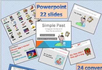 ESL Simple Past Activities(Irregular Verbs-PowerPoint Printable Speaking Game)
