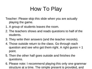 ESL - Simple Present - The Friendship Game - PowerPoint