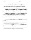 ESL Social Studies - ACES paragraph frame for beginning ELLs
