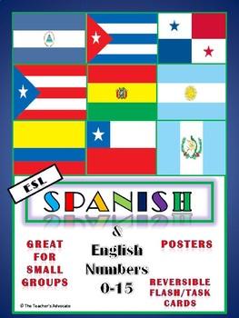 ESL Spanish & English Numbers (0-15) Task Cards and Posters