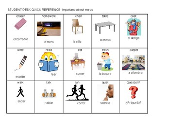 Spanish/English quick reference, school words