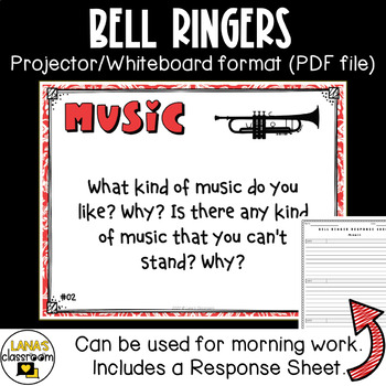 Conversation Starters Task Cards Writing Prompts - Music