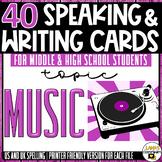 Music | ESL/ELL/ELA Speaking and Writing Activities | For Teens | BUNDLE