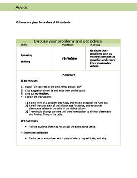 ESL Speaking: Advice Lesson Plan
