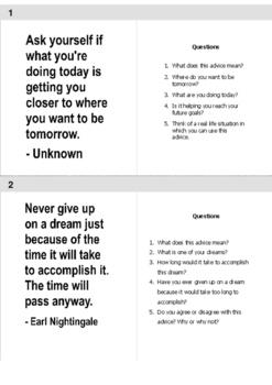 ESL Speaking: Advice Materials