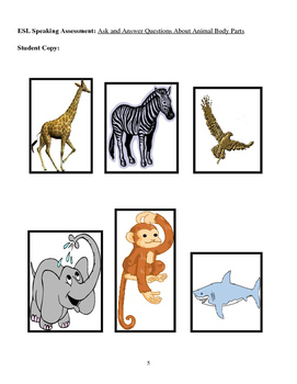 ESL Speaking Assessment: Ask and Answer Questions About Animal Body Parts