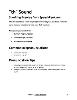 "ESL Speaking Exercise - ""th"" Sound"