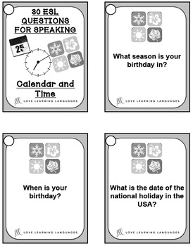 30 ESL - ELL conversation and speaking prompts -Calendar and Time Vocabulary