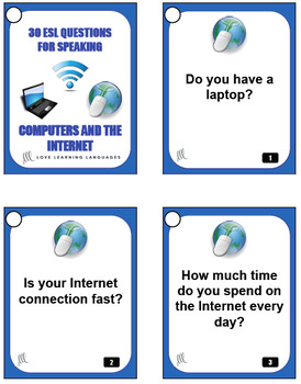 30 ESL - ELL conversation starters and speaking prompts - Computers and Internet