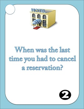 ESL - ELL Speaking Questions and Conversation Prompts - Hotel vocabulary