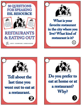30 ESL - ELL conversation and speaking prompts - Restaurants and Eating Out