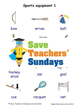 ESL Sports Equipment Worksheets, Games, Activities & Flash Cards (with audio) 1