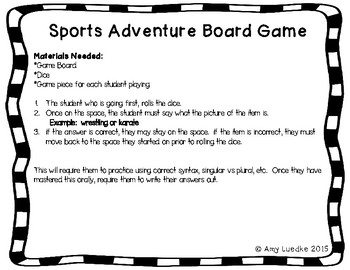 ESL Olympic Sports Vocabulary Board Game