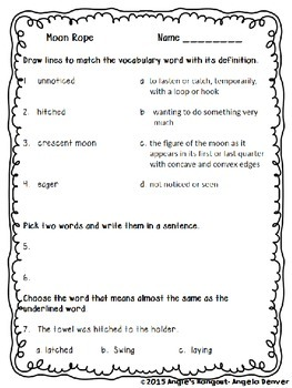 ESL Strategy Activity for Vocabulary Development for Moon Rope