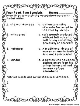 ESL Strategy for Vocabulary Development for Four Feet, Two Sandals