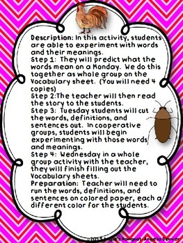 ESL Strategy for Vocabulary Development for Martina the Beautiful Cockroach