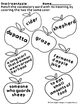 ESL Strategy for Vocabulary Development for One Green Apple