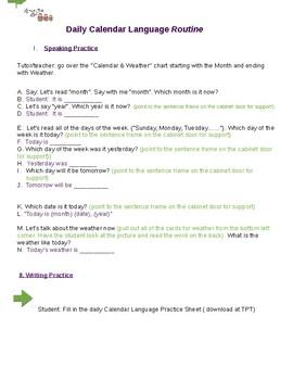 ESL Student Calendar Language Practice ( oral script)