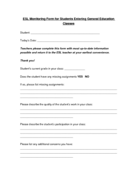 ESL Student Monitoring Form