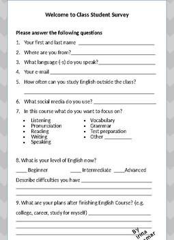 ESL Student Survey and Assessment