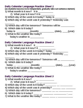 ESL Student Writing practice of calendar (vocabulary and structures)