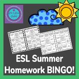 ESL Summer Homework BINGO!