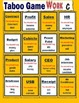 ESL Taboo Game Card (Word guessing game) : Work