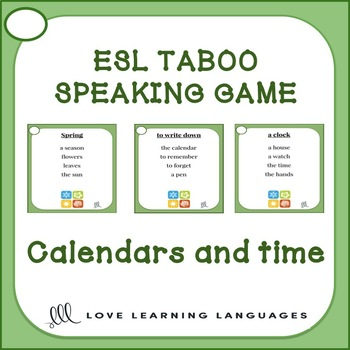 ESL - ELL Taboo speaking game - Calendar and time vocabulary