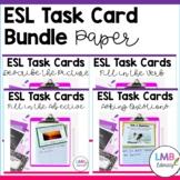 ESL Task Cards Bundle-Descriptions-Adjectives-Verbs-Question Words