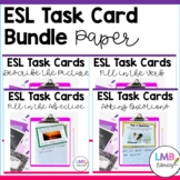 ESL Task Cards Bundle~Descriptions~Adjectives~Verbs~Questi