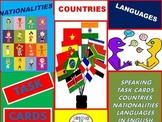 Task Cards: Nationalities, Countries and Languages