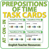 ESL Task Cards - Prepositions of TIME - AT ON IN