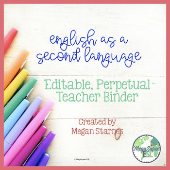 ESL Teacher Binder/Planner (Bright School Supplies) ***EDITABLE***