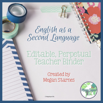 ESL Teacher Binder/Planner (Navy, Coral and Mint) ***Editable***
