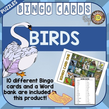 Types of Birds ESL Activities Bingo Cards