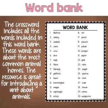 Types of Birds ESL/ELL Activity Crossword Puzzle
