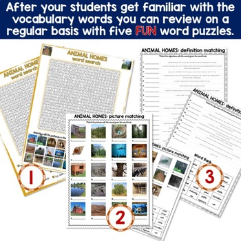 Animal Homes Photo Flash Cards and Vocabulary Puzzles BUNDLE